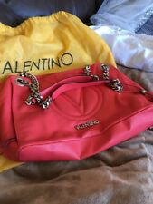 Valentino Authentic Coral Purse Large Silver Chain
