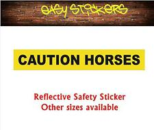 580mm Caution Horses Reflective Float Trailer Safety Car Ute Sticker - Yellow