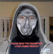 Halloween Completo Máscara blanco y Negro Mono Cara Disfraz Tela