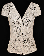 VTG 80s Style & Co. BoHo CHIC White Crochet Beaded Button Blouse Top Shirt SzS