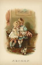 ANTIQUE VICTORIAN CHILD CHILDREN DOLL CAT KITTEN ABC ALPHABET CHROMO COLOR PRINT