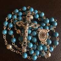Turquoise ROSE BEADS CATHOLIC Our Lady Of Fatima Relic ROSARY CROSS NECKLACE