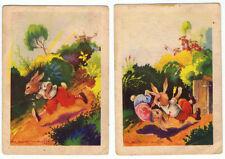 Colección completa de 2 cromos fábula Los Dos Conejos. 7,5 x 10,5 cm