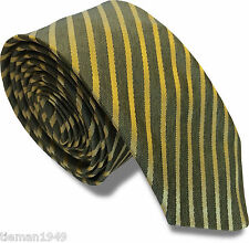 Italian Silk Narrow 'Greyed Green' and Gold Striped Skinny Tie