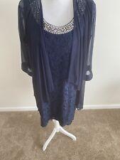 R&M Collect Navy Blue Mother Of The Bride Dress Set Suit Sz 14
