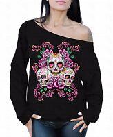 Sugar Skulls Flowers Off The Shoulder Oversized Slouchy Sweater Sweatshirt