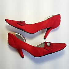 TODS Red Suede Pumps 8.5 Rhinestone Accents Heels Satin Strip Italy