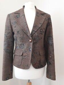 SABRA Jacket Blazer * Tweed Effect * Autumnal Brown * Paisley & Floral * Sz 12