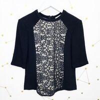 ALC Blouse Size 4 Black Silver Lace Trim Short Sleeves Back Zipper Wool Iwanaka