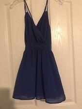 L'atiste by Amy Royal Blue Low Cut Faux Wrap Front Mini Dress Size Small