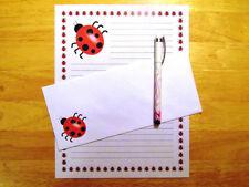Ladybug Stationery Writing Set 12 Sheets 6 Envelopes - Lined Stationary
