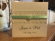 70 Wedding Invitations Personalised - Green Ribbon, Lace, Pearls & Heart Slider