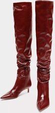 BNWT Zara raccolto rosso in pelle sopra il ginocchio UK 4 US 6 EUR 37 6014/201