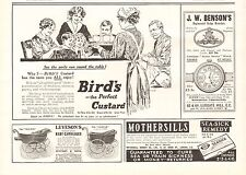 1915 ANTIQUE PRINT - ADVERTS- BIRD'S PERFECT CUSTARD, LEVESON'S BABY CARRIAGES,