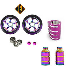 PRO STUNT SCOOTER SET 2 100mm METAL CORE WHEELS QUAD CLAMP PEGS ABEC NEO CHROME