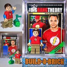 The Big Bang Theory Sheldon custom MINIFIGURE w Display Case & lego stand 290