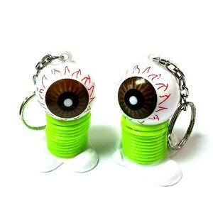 4 pc Horror Eyeball Spring key chain car decoration party favor Halloween loot