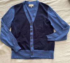 Jack Spade Blue Colorblocked Wool Brockman Lightweight Cardigan L Large