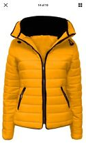 Ladies Quilted Padded Hooded Gold Zip Bubble Fur Collar Warm Thick Jacket Coat