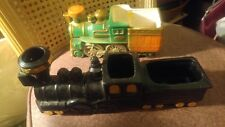 Lot of 2 Vintage Ceramic Black Train and Green Planters
