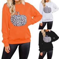 Women's Leopard Pumpkin Print Pullover Sweatshirts Hoodie Halloween Casual Tops