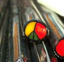 Peace Sign Rasta colors 10 gm pyrex boro mille millifiori murrine