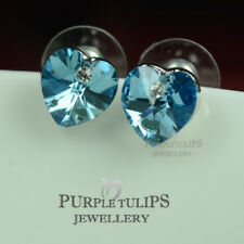 18K White Gold Plated Ocean Blue Heart Stud Earrings Made With Swarovski Crystal
