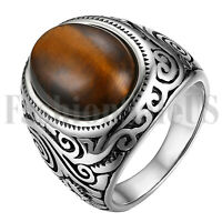Men's Retro Stainless Steel Oval Tiger Eye Stone Patterned Ring Band Size 7-13