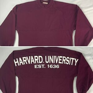 HARVARD UNIVERSITY Est 1636 spirit jersey crimson SMALL long sleeve t-shirt