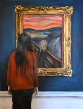 """ORIGINAL ESCHA VAN DEN BOGERD """"Watching The Scream - Edvard Munch ' OIL PAINTING"""