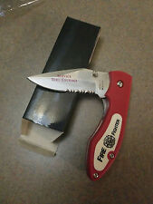 NEW! Red Service Thru Courage FireFighter Tactical Combination Folding Knife