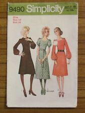 SIMPLICITY PATTERN - 9490 LADIES DRESS SQUARE NECK 12 USED