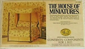 DOLLHOUSE HOUSE OF MINIATURES CHIPPENDALE CANOPY BED KIT, ANTIQUE REPLICA