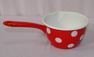 Enamel Casserole, Handle Pot, Stilkasserolle, Saucepan Spots Red White