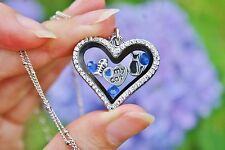 Mother's Day Cat Lover Living Locket Necklace Floating Charms Blue Kitty Love