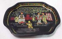 Vintage Small Mini Black Metal Coaster Tray Asian Oriental Scene Hong Kong