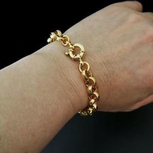 18k gold filled belcher bolt ring Link mens womens solid bracelet jewllery