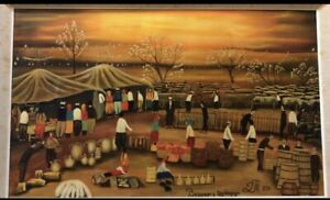 Dipinto Naif Olio Su Tela Paesaggio 80x50cm