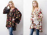 Jodifl Floral Print Bell Sleeve Swing Loose Blouse Tunic Top Lace Boho Hippie