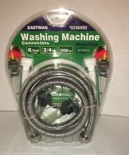 """Eastman 3/4"""" """"Stainless Steel Braided Washing Machine Connection Hose 6 Feet"""