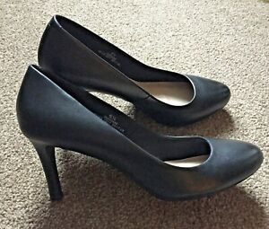 M&S Collection Black Leather Stiletto Court Shoes - Size UK 6.5 / Eur 40 - Used