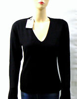 Pull Noir Cachemire & Soie col V  Taille L- Made In Italy  Pull-Over  Mode femme