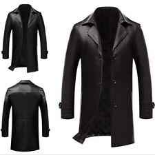 M-7XL Men's Leather Jacket Business Trench Coat Slim Fit Outwear Windbreaker New