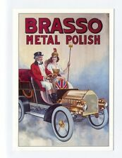 ad83 - Brasso Metal Polish advert - man & Brittania  in motor - art postcard