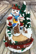 San Francisco Music Box Co. Snowman with Rotating Bear Let It Snow!