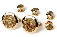 New Diamond Dust Gold Plated Cufflinks studs Retail Gift Boxed Cuffs TUXXMAN