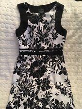 Adrianna Papell Women's Black White Monochrome Flora Dress Size 4