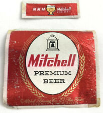 Vintage Foil Beer Can Bottle Label Mitchell Premium Beer  Brewing El Paso Texas