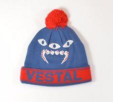 Vestal DEEGAN Mens 100% Acrylic Cuffed Pom Beanie One Size Blue Red NEW