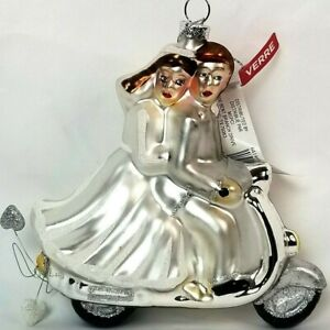 New Just Married Couple On Motorcycle Glass Christmas Ornament